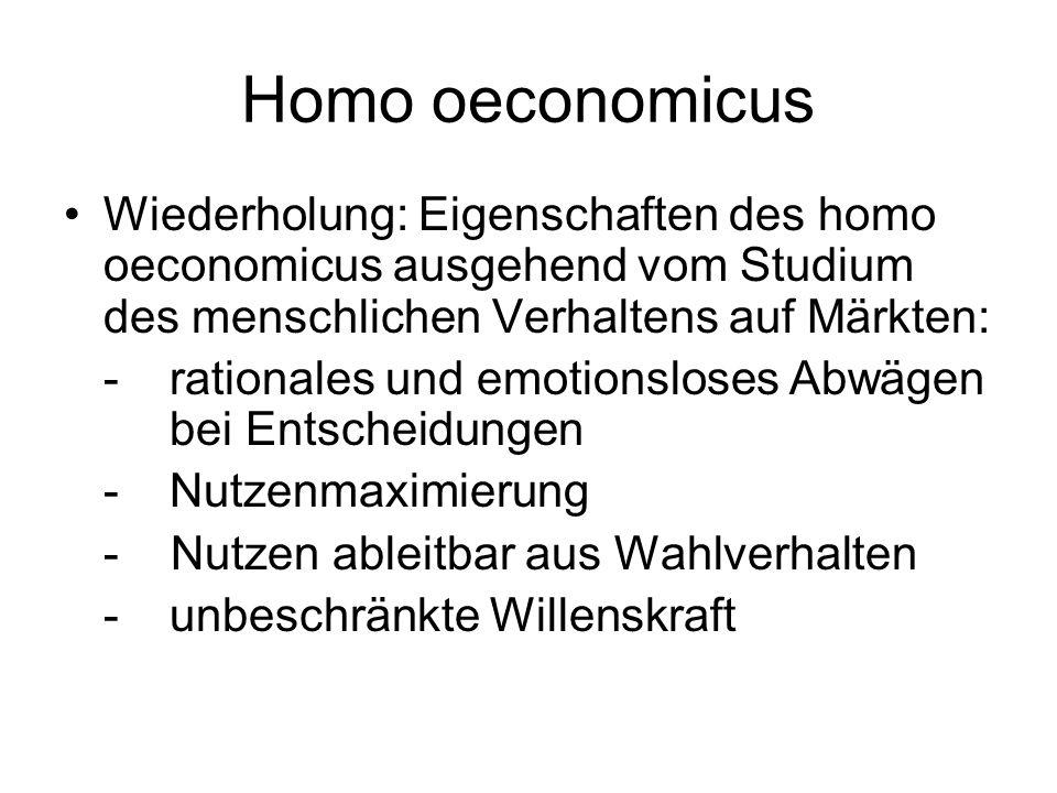 Homo oeconomicus Wiederholung: Eigenschaften des homo oeconomicus ausgehend vom Studium des menschlichen Verhaltens auf Märkten: