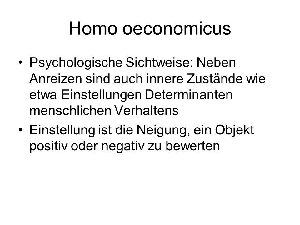 Homo oeconomicus Psychologische Sichtweise: Neben Anreizen sind auch innere Zustände wie etwa Einstellungen Determinanten menschlichen Verhaltens.