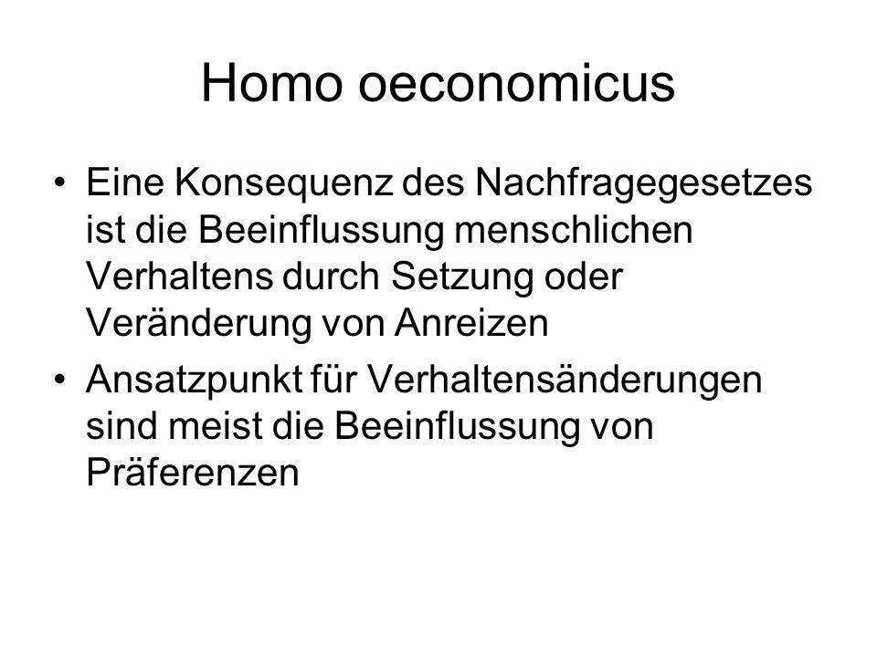 Homo oeconomicus Eine Konsequenz des Nachfragegesetzes ist die Beeinflussung menschlichen Verhaltens durch Setzung oder Veränderung von Anreizen.