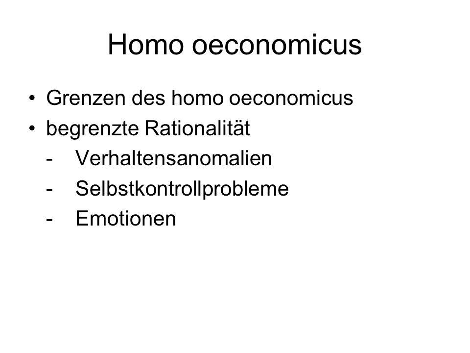 Homo oeconomicus Grenzen des homo oeconomicus begrenzte Rationalität
