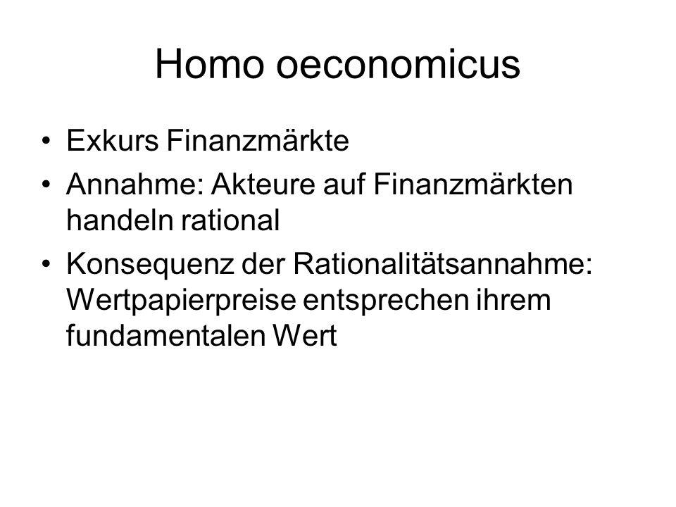 Homo oeconomicus Exkurs Finanzmärkte