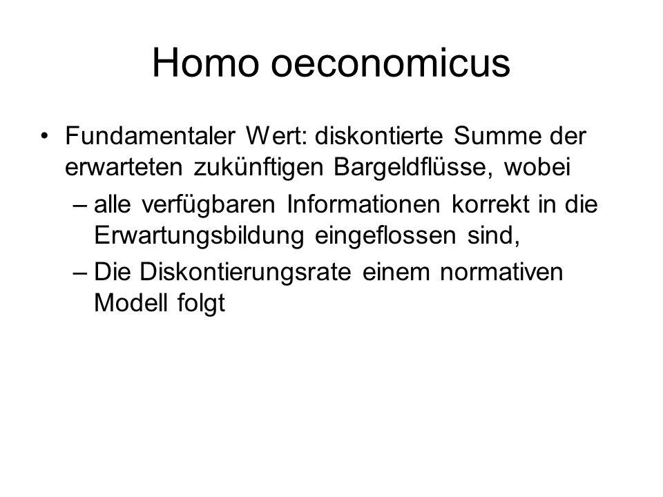 Homo oeconomicus Fundamentaler Wert: diskontierte Summe der erwarteten zukünftigen Bargeldflüsse, wobei.