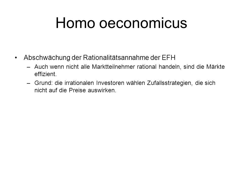 Homo oeconomicus Abschwächung der Rationalitätsannahme der EFH
