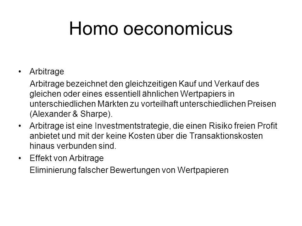 Homo oeconomicus Arbitrage