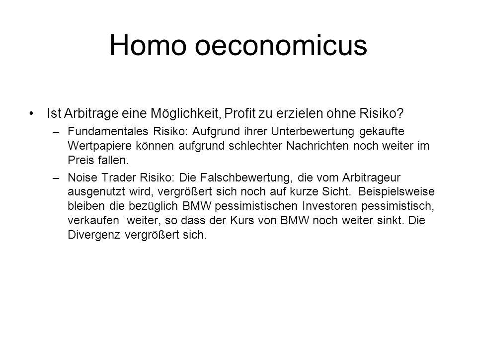 Homo oeconomicus Ist Arbitrage eine Möglichkeit, Profit zu erzielen ohne Risiko