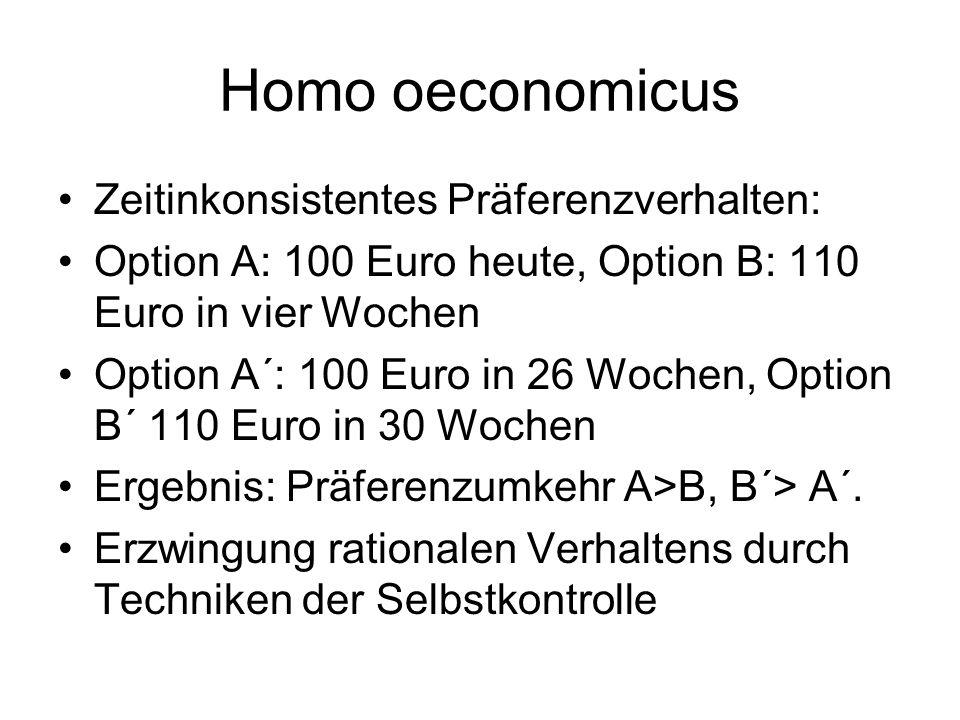 Homo oeconomicus Zeitinkonsistentes Präferenzverhalten: