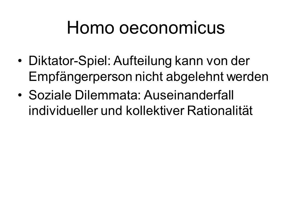 Homo oeconomicus Diktator-Spiel: Aufteilung kann von der Empfängerperson nicht abgelehnt werden.