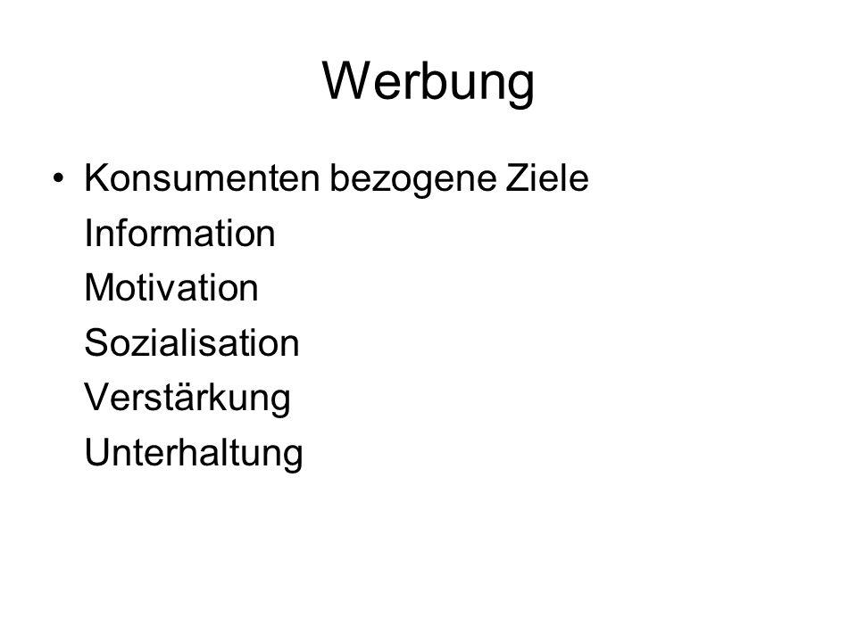 Werbung Konsumenten bezogene Ziele Information Motivation