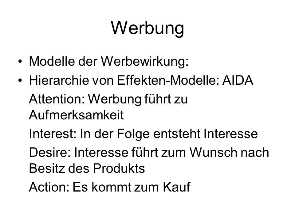 Werbung Modelle der Werbewirkung:
