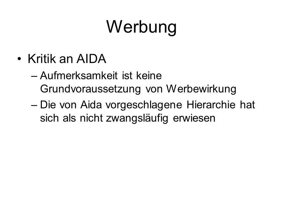 Werbung Kritik an AIDA. Aufmerksamkeit ist keine Grundvoraussetzung von Werbewirkung.