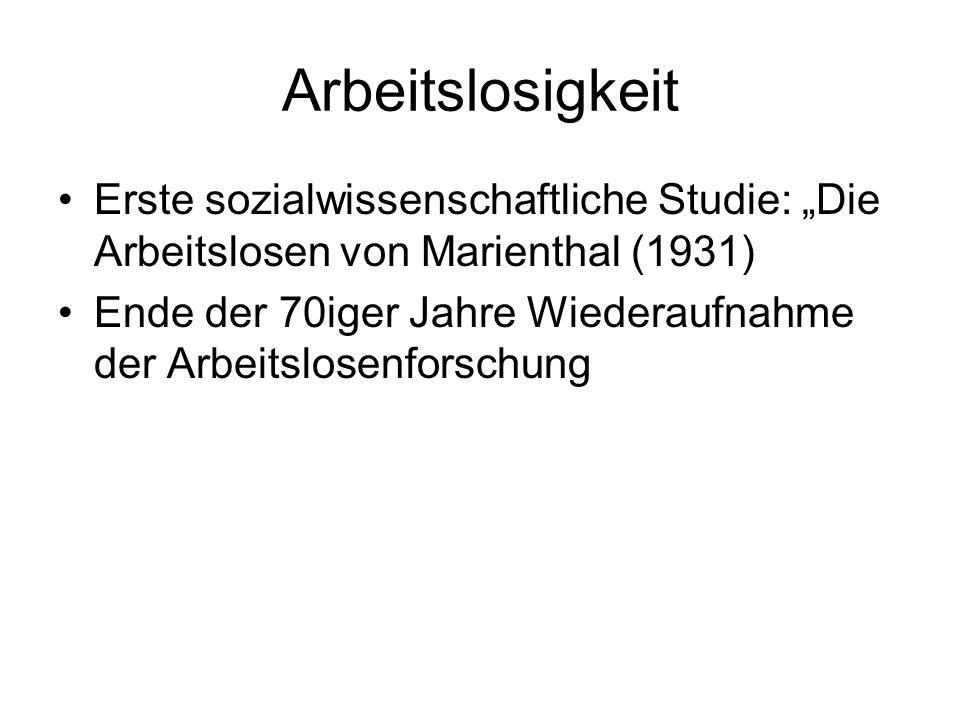 """Arbeitslosigkeit Erste sozialwissenschaftliche Studie: """"Die Arbeitslosen von Marienthal (1931)"""