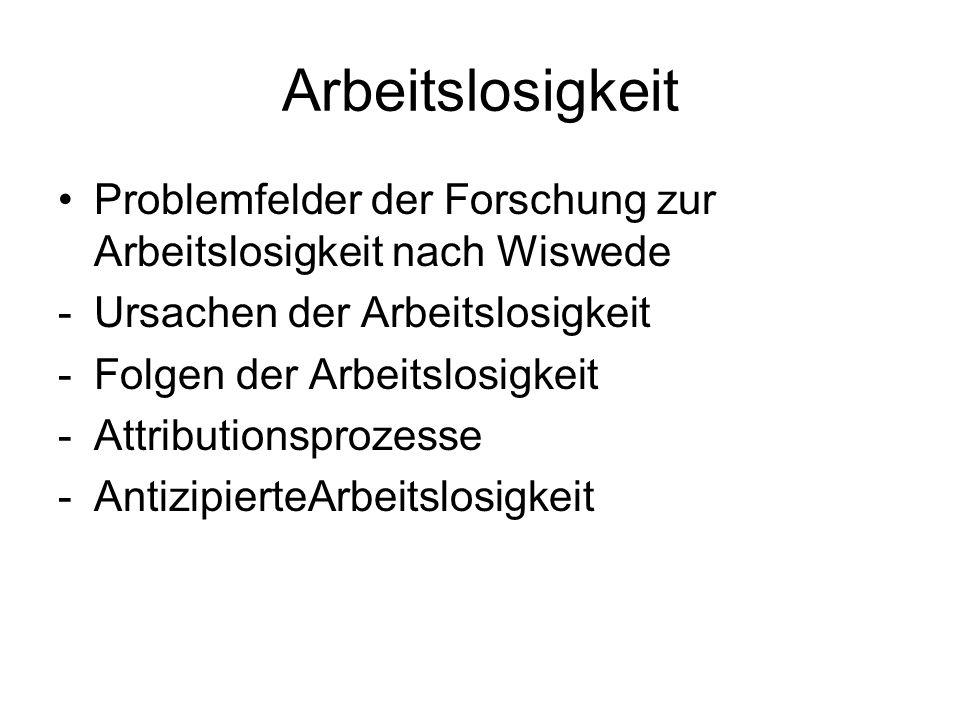 Arbeitslosigkeit Problemfelder der Forschung zur Arbeitslosigkeit nach Wiswede. Ursachen der Arbeitslosigkeit.