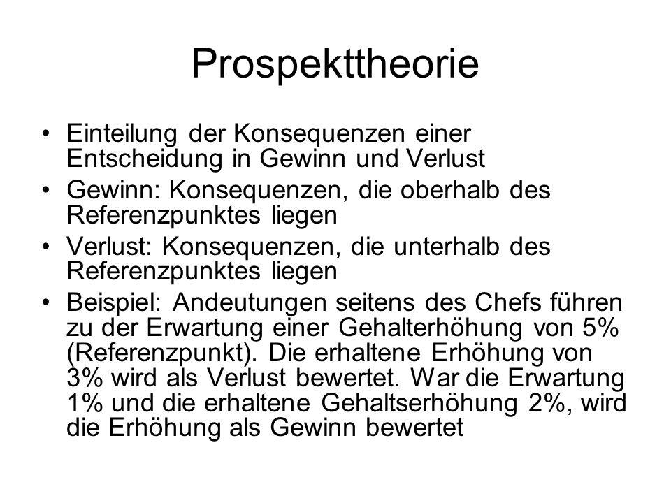 Prospekttheorie Einteilung der Konsequenzen einer Entscheidung in Gewinn und Verlust. Gewinn: Konsequenzen, die oberhalb des Referenzpunktes liegen.