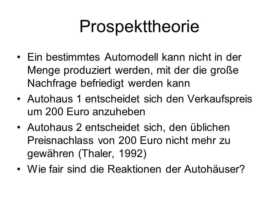 Prospekttheorie Ein bestimmtes Automodell kann nicht in der Menge produziert werden, mit der die große Nachfrage befriedigt werden kann.