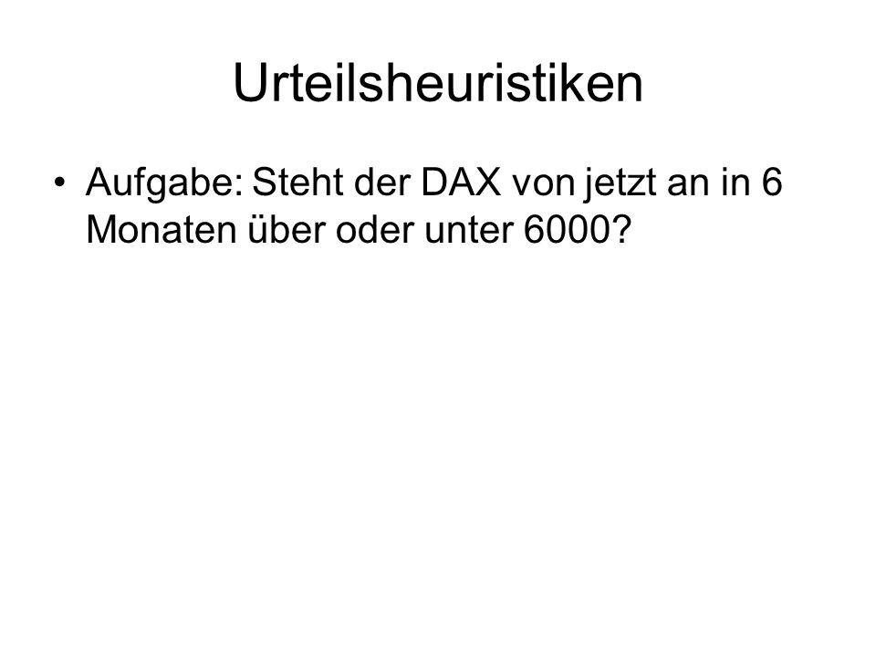 Urteilsheuristiken Aufgabe: Steht der DAX von jetzt an in 6 Monaten über oder unter 6000