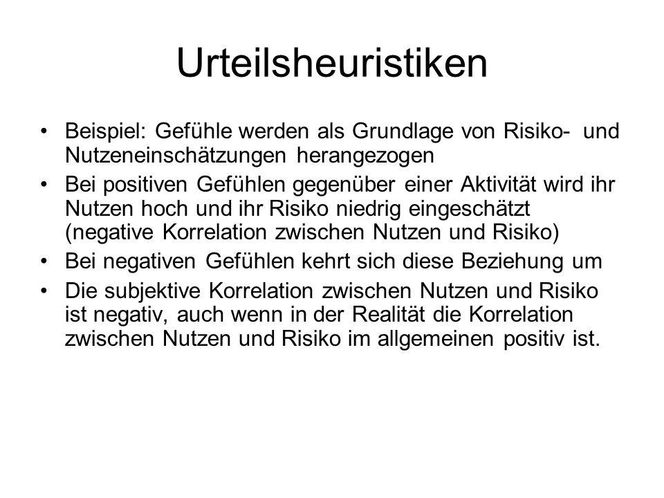 Urteilsheuristiken Beispiel: Gefühle werden als Grundlage von Risiko- und Nutzeneinschätzungen herangezogen.