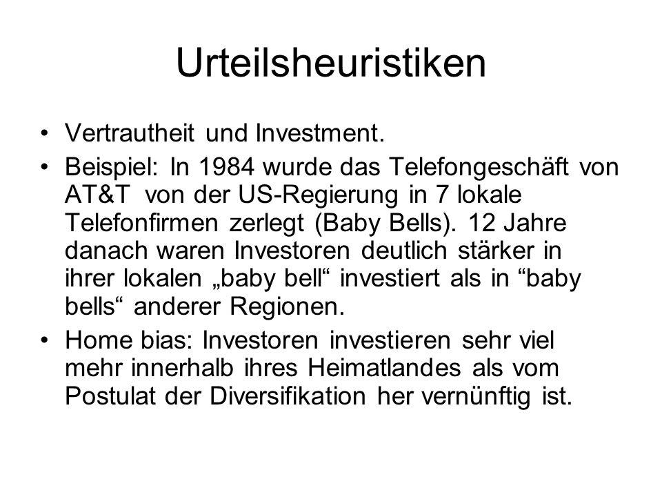 Urteilsheuristiken Vertrautheit und Investment.