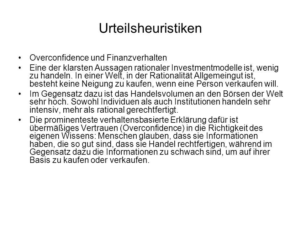 Urteilsheuristiken Overconfidence und Finanzverhalten