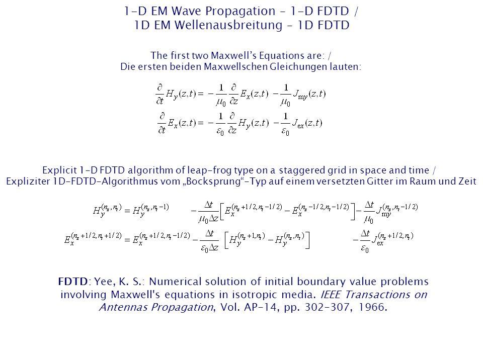 1-D EM Wave Propagation – 1-D FDTD / 1D EM Wellenausbreitung – 1D FDTD