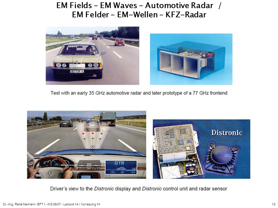 EM Fields – EM Waves – Automotive Radar / EM Felder – EM-Wellen – KFZ-Radar