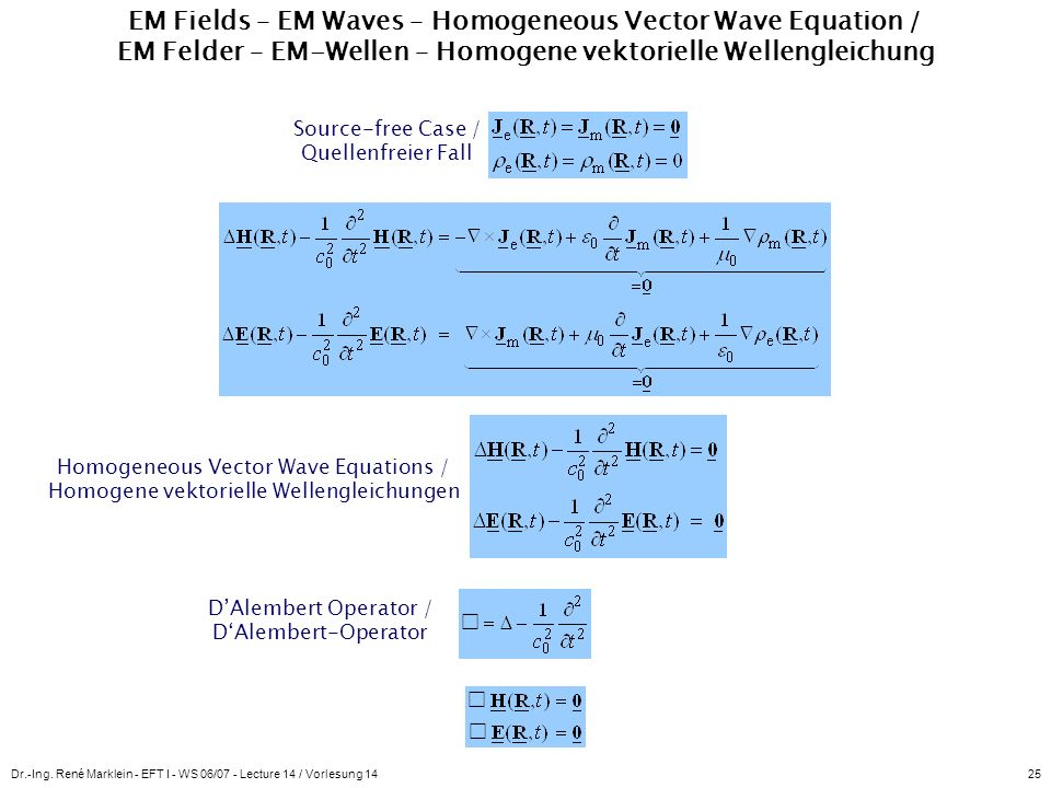 EM Fields – EM Waves – Homogeneous Vector Wave Equation / EM Felder – EM-Wellen – Homogene vektorielle Wellengleichung