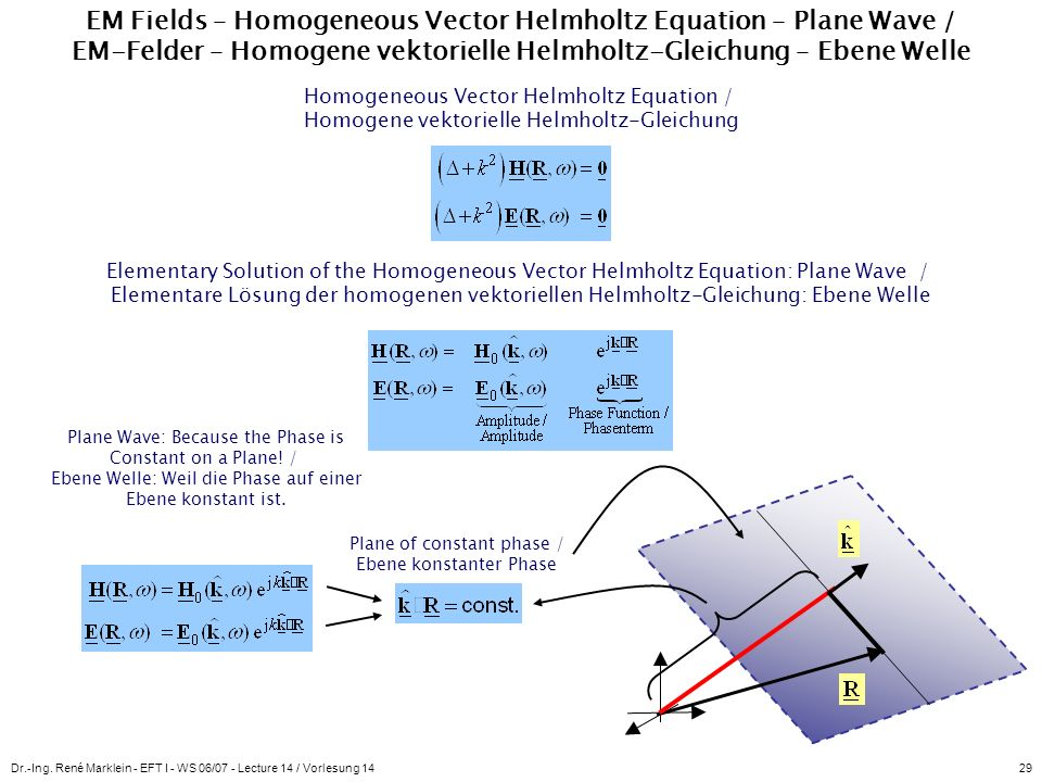 EM Fields – Homogeneous Vector Helmholtz Equation – Plane Wave / EM-Felder – Homogene vektorielle Helmholtz-Gleichung – Ebene Welle