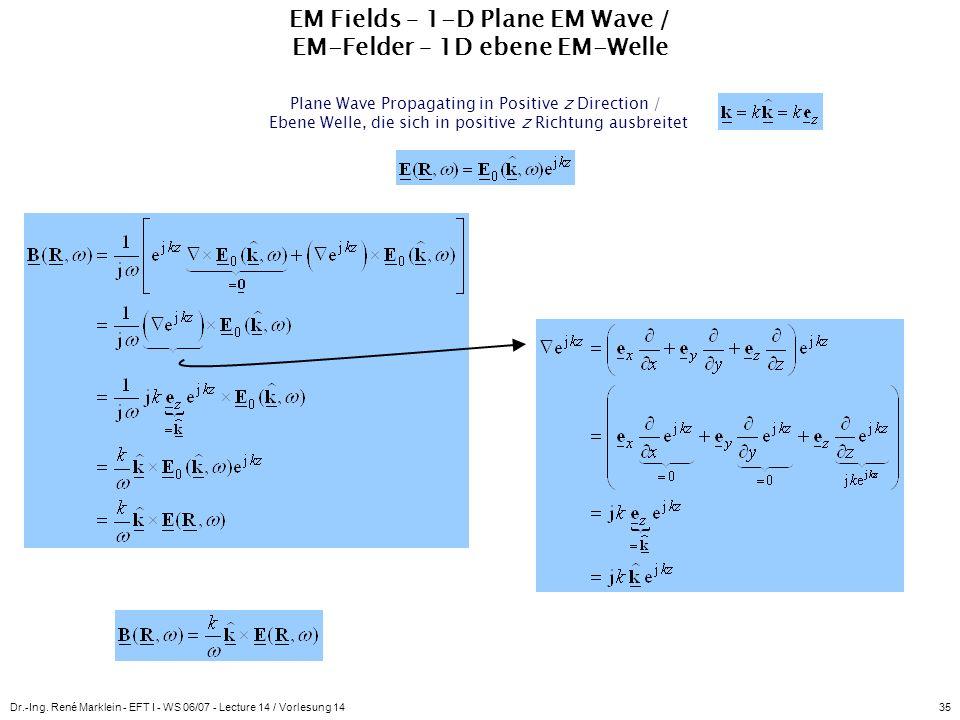 EM Fields – 1-D Plane EM Wave / EM-Felder – 1D ebene EM-Welle