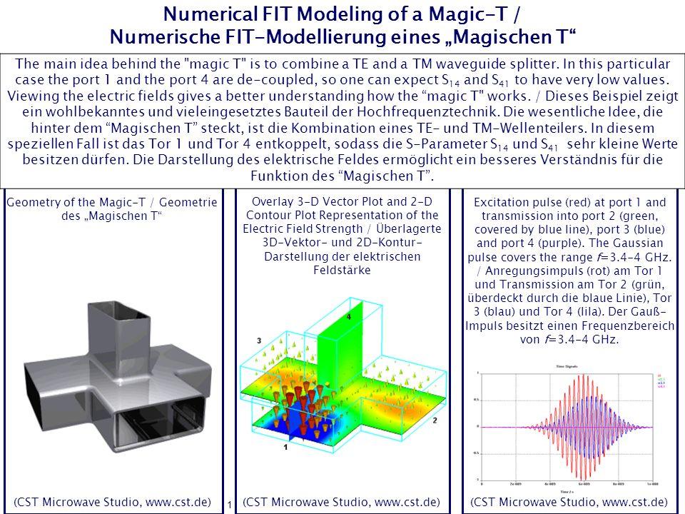 """Numerical FIT Modeling of a Magic-T / Numerische FIT-Modellierung eines """"Magischen T"""