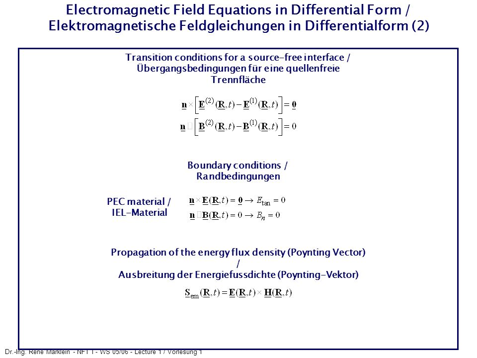 Electromagnetic Field Equations in Differential Form / Elektromagnetische Feldgleichungen in Differentialform (2)