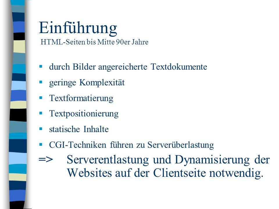 Einführung HTML-Seiten bis Mitte 90er Jahre