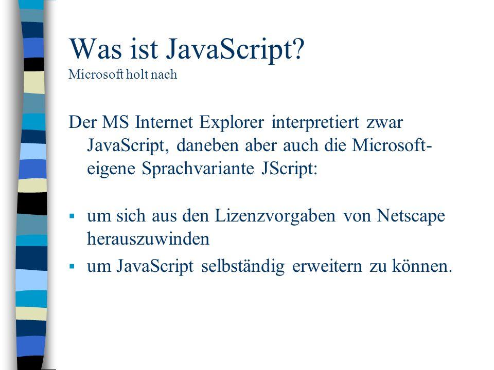 Was ist JavaScript Microsoft holt nach