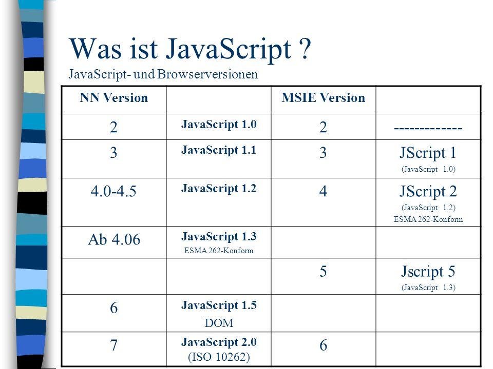 Was ist JavaScript JavaScript- und Browserversionen