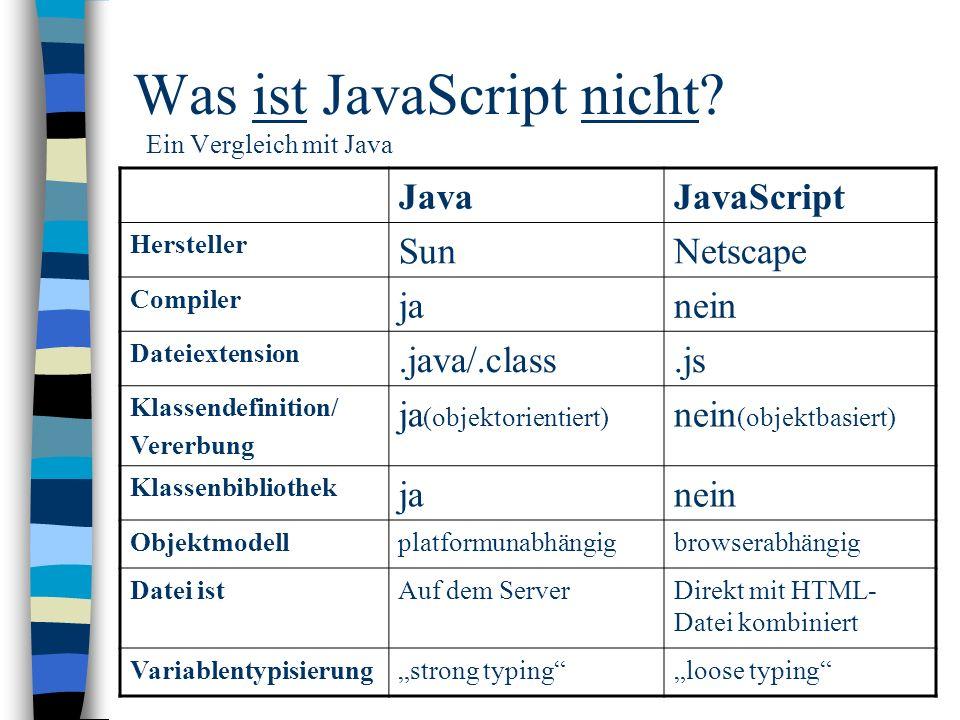 Was ist JavaScript nicht Ein Vergleich mit Java