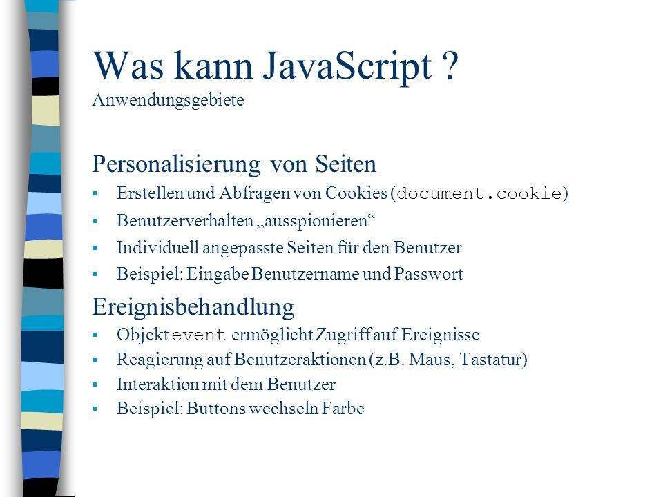 Was kann JavaScript Anwendungsgebiete