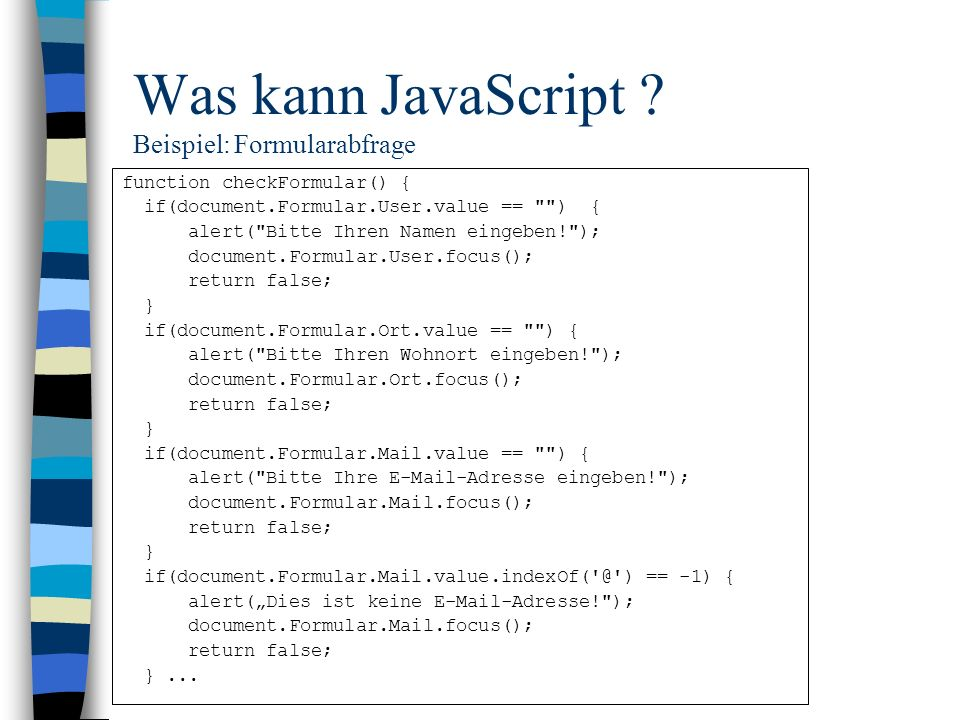 Was kann JavaScript Beispiel: Formularabfrage