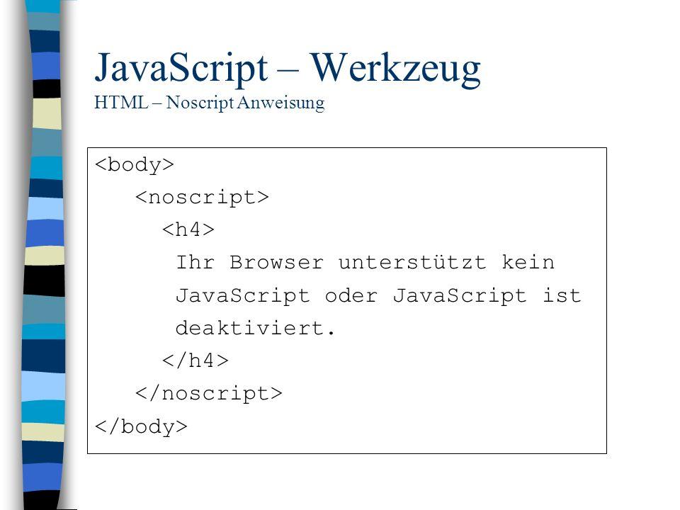 JavaScript – Werkzeug HTML – Noscript Anweisung