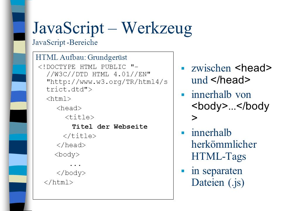 JavaScript – Werkzeug JavaScript -Bereiche