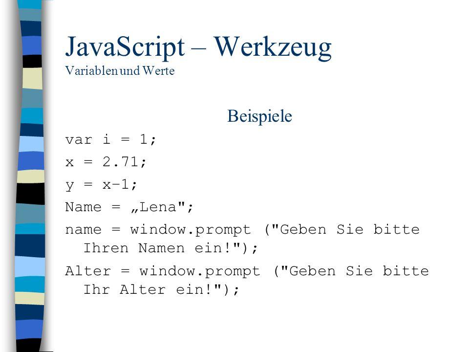 JavaScript – Werkzeug Variablen und Werte