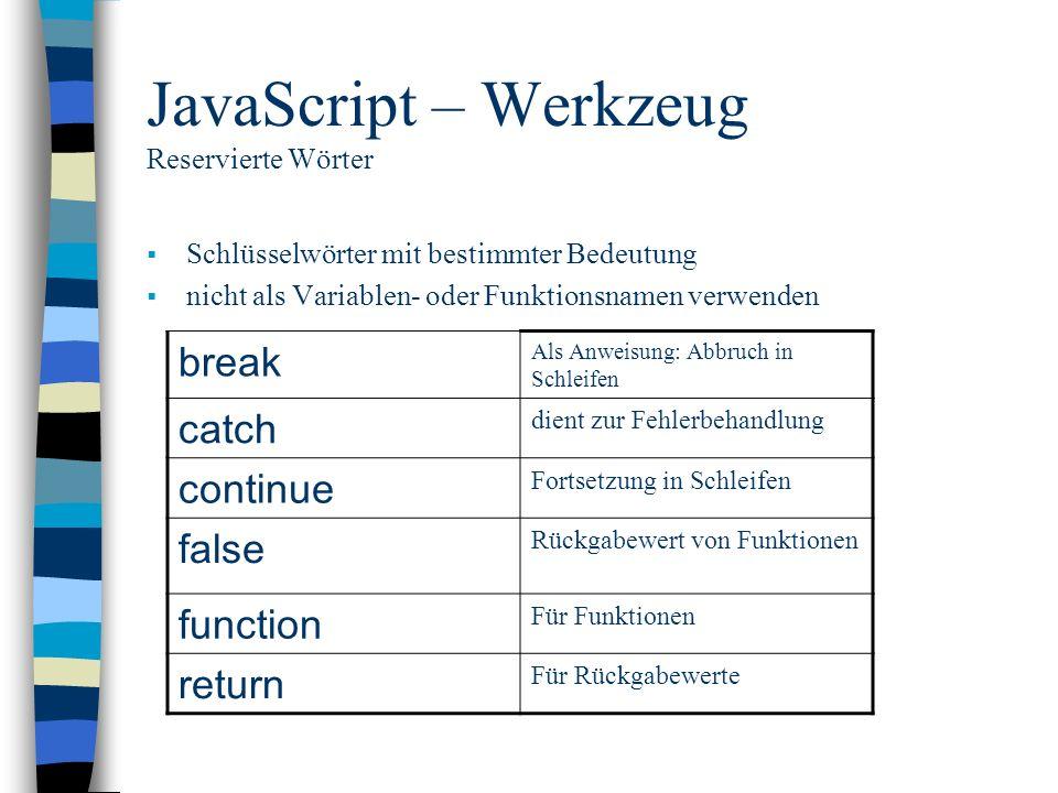 JavaScript – Werkzeug Reservierte Wörter