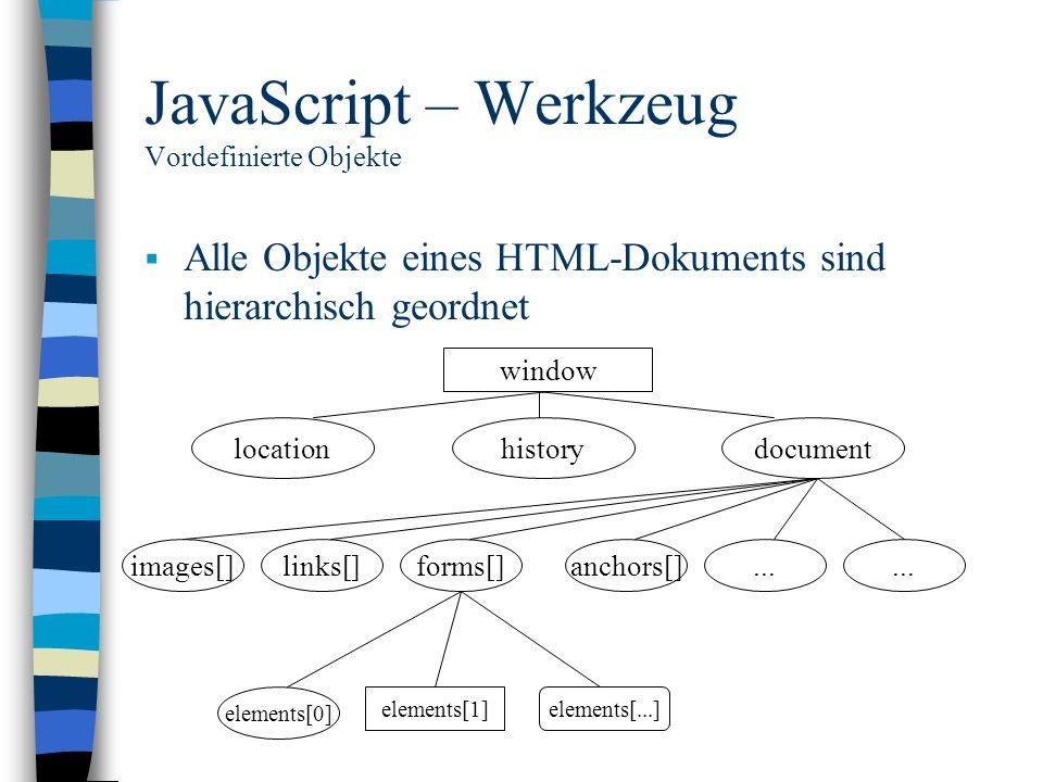JavaScript – Werkzeug Vordefinierte Objekte