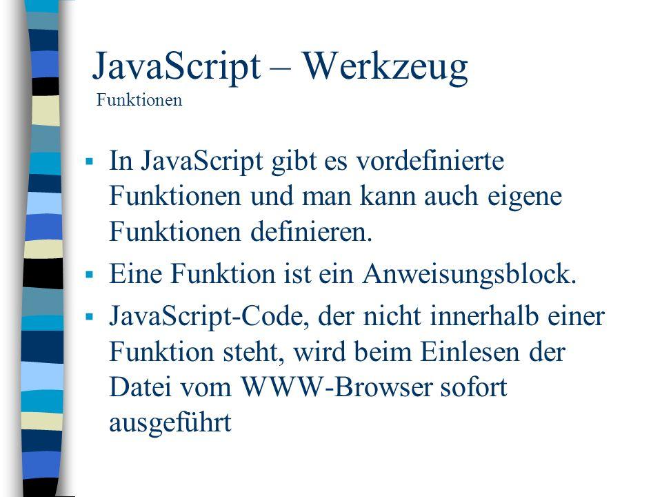 JavaScript – Werkzeug Funktionen