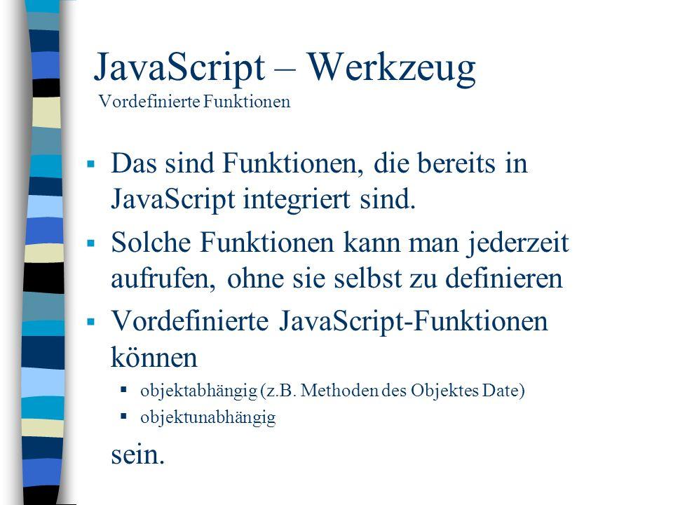 JavaScript – Werkzeug Vordefinierte Funktionen