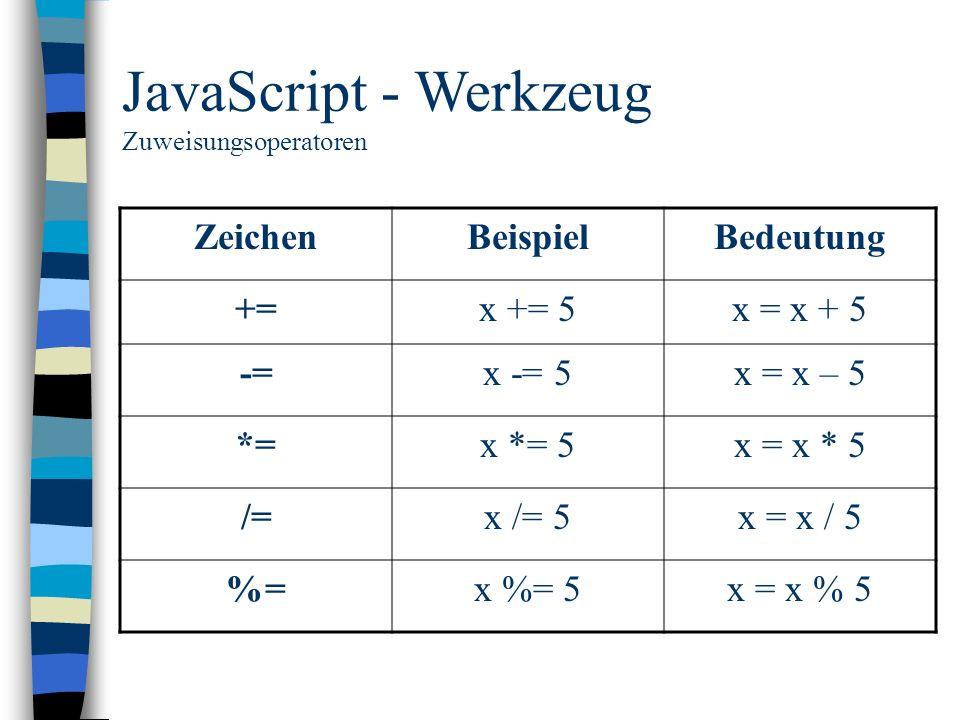 JavaScript - Werkzeug Zeichen Beispiel Bedeutung += x += 5 x = x + 5