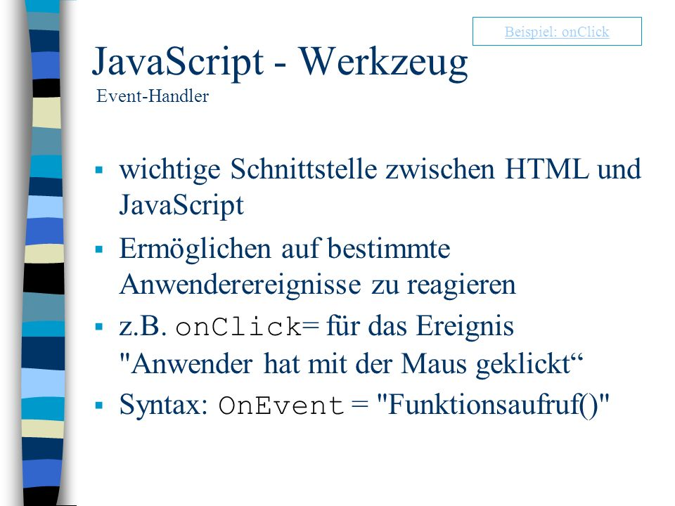 JavaScript - Werkzeug Event-Handler