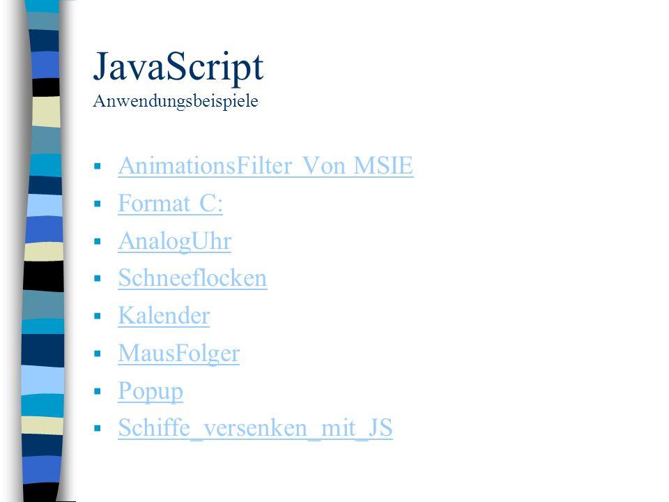JavaScript Anwendungsbeispiele