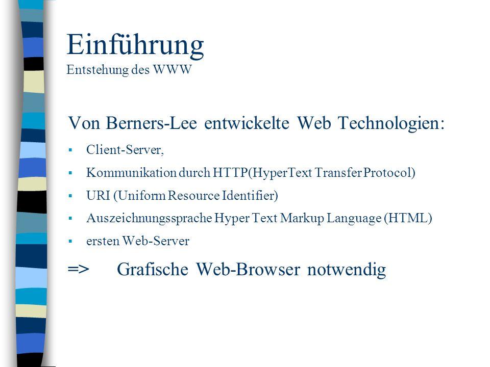 Einführung Entstehung des WWW