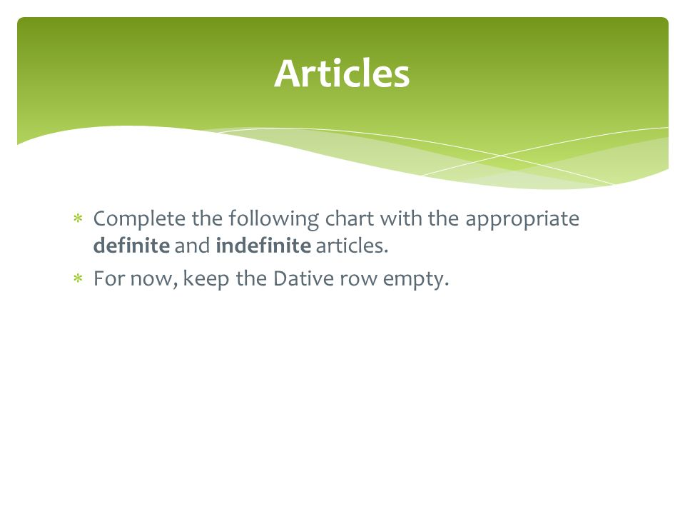 Articles Complete the following chart with the appropriate definite and indefinite articles.