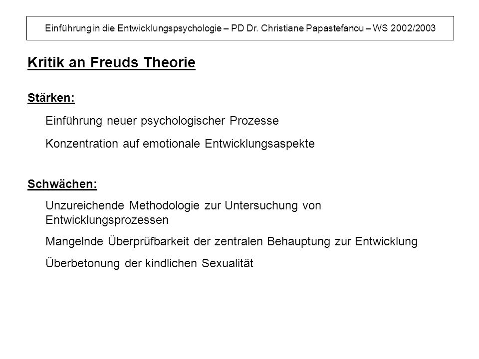 Kritik an Freuds Theorie