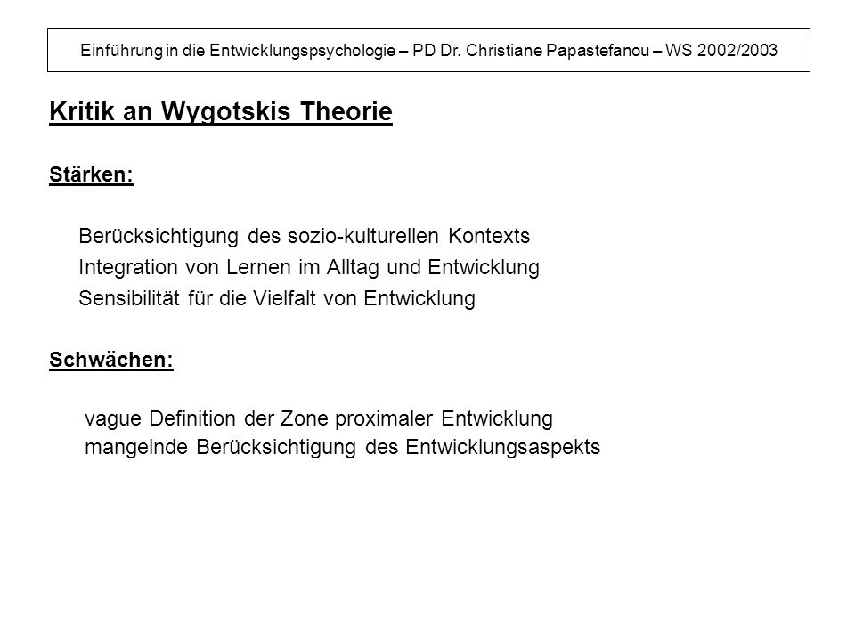 Kritik an Wygotskis Theorie