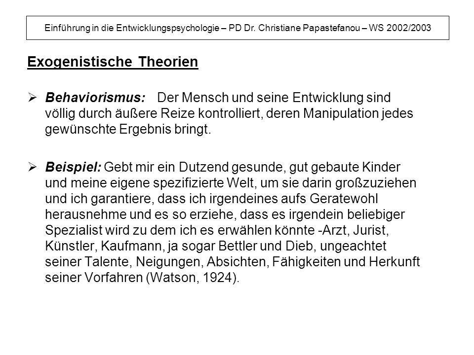 Exogenistische Theorien